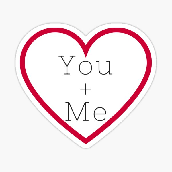 You + Me in Red Heart Sticker
