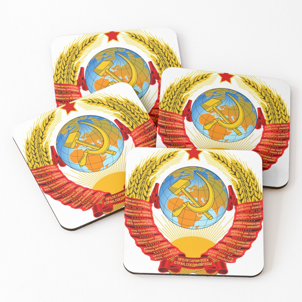 History of the Soviet Union (1927–1953) State Emblem of the Soviet Union Coasters (Set of 4)