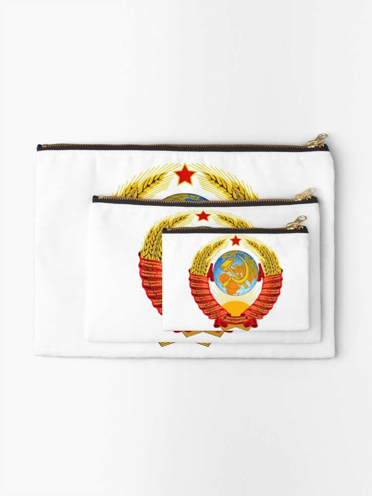 Alternate view of History of the Soviet Union (1927–1953) State Emblem of the Soviet Union Zipper Pouch
