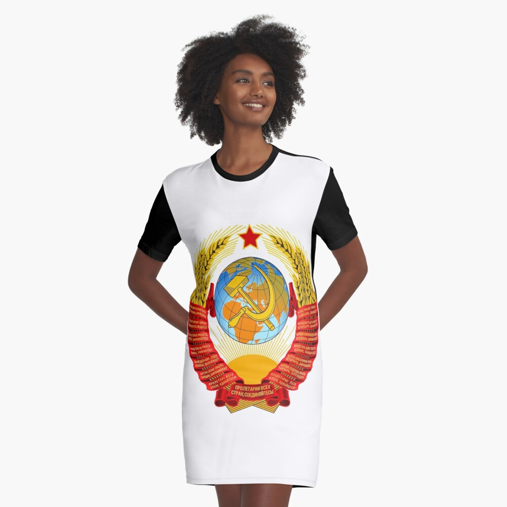 History of the Soviet Union (1927–1953) State Emblem of the Soviet Union Graphic T-Shirt Dress