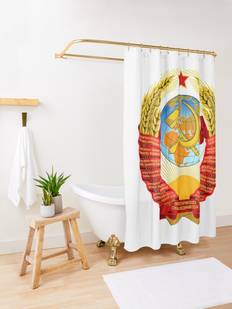 Alternate view of History of the Soviet Union (1927–1953) State Emblem of the Soviet Union Shower Curtain