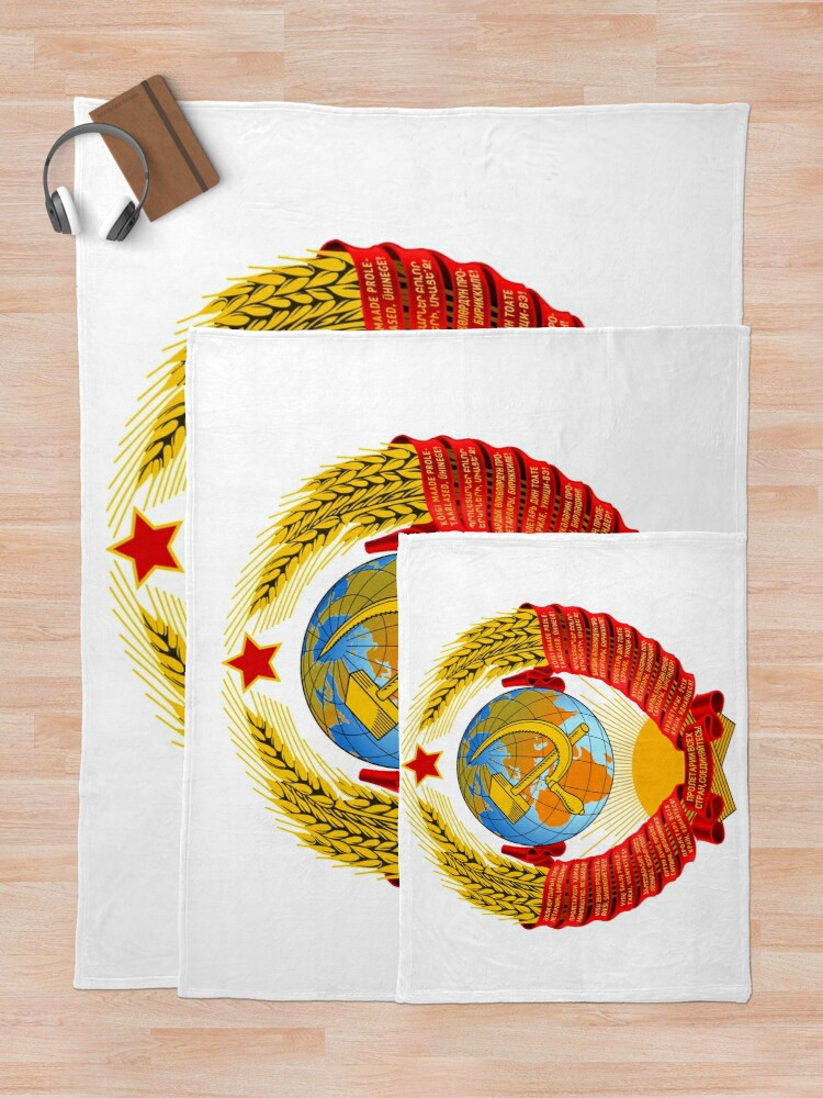 Alternate view of History of the Soviet Union (1927–1953) State Emblem of the Soviet Union Throw Blanket