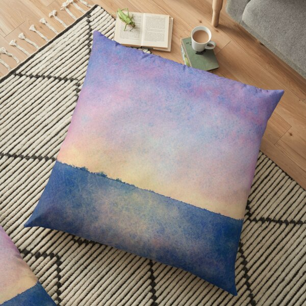 Grungy Sunset Abstract Watercolour Painting Floor Pillow