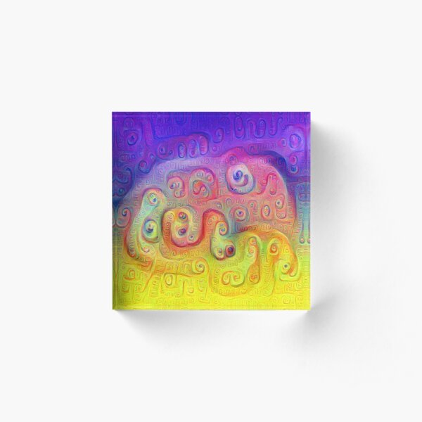 DeepDream Violet to Yellow Acrylic Block