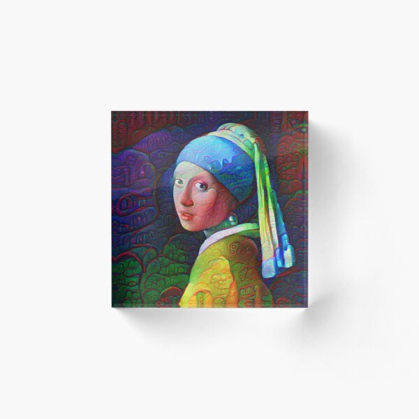 "DeepDreamed ""Girl with a Pearl Earring"" Acrylic Block"