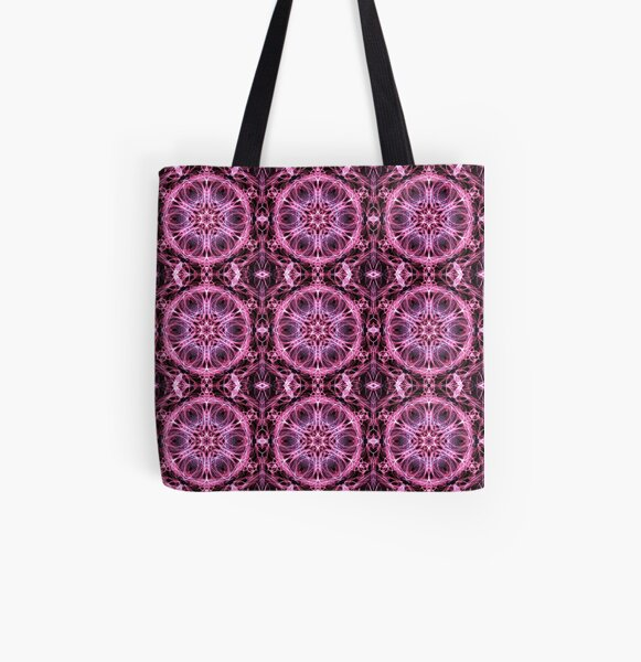 Alternative Abstract Pink and Black Pattern All Over Print Tote Bag