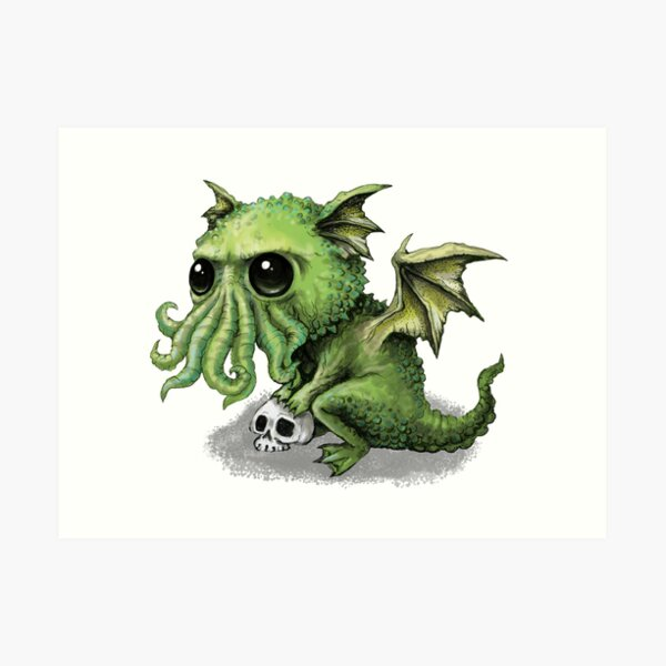 Cute Cthulhu Dragon Art Print