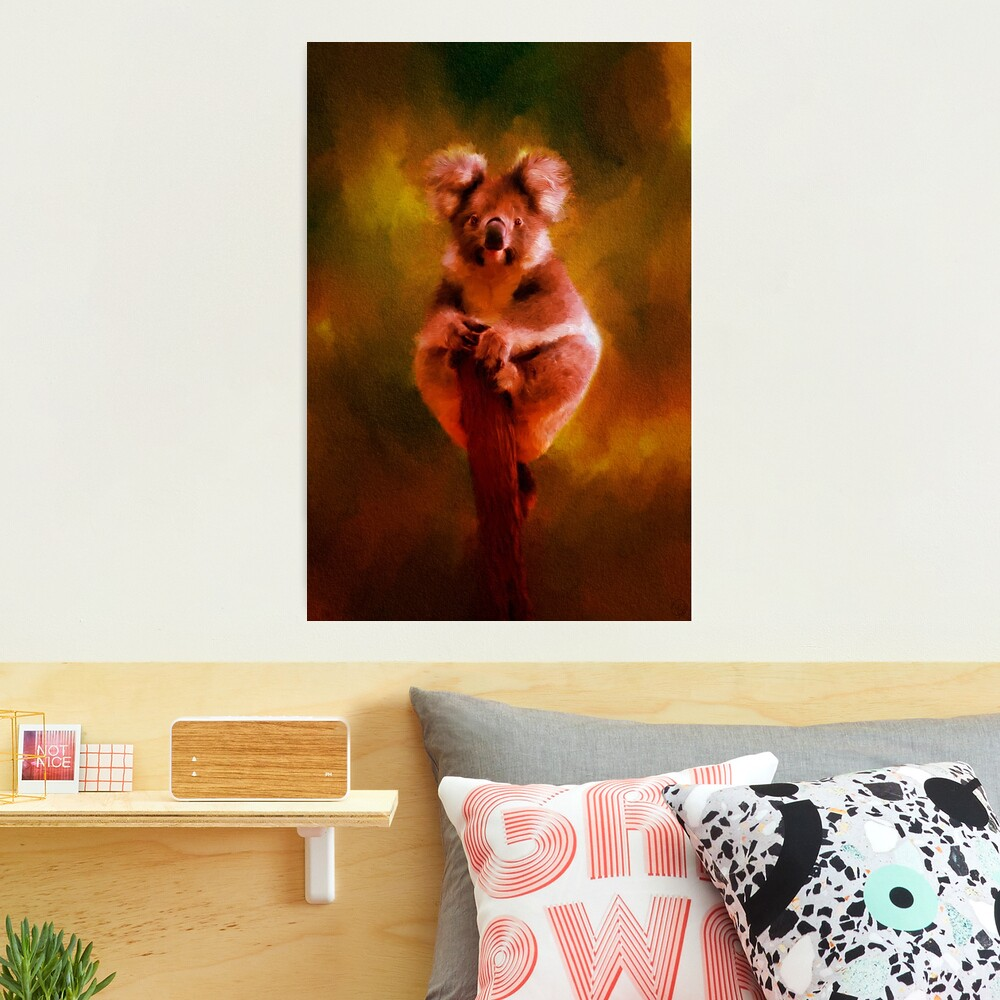Koala in the Burning Australian Bush Photographic Print