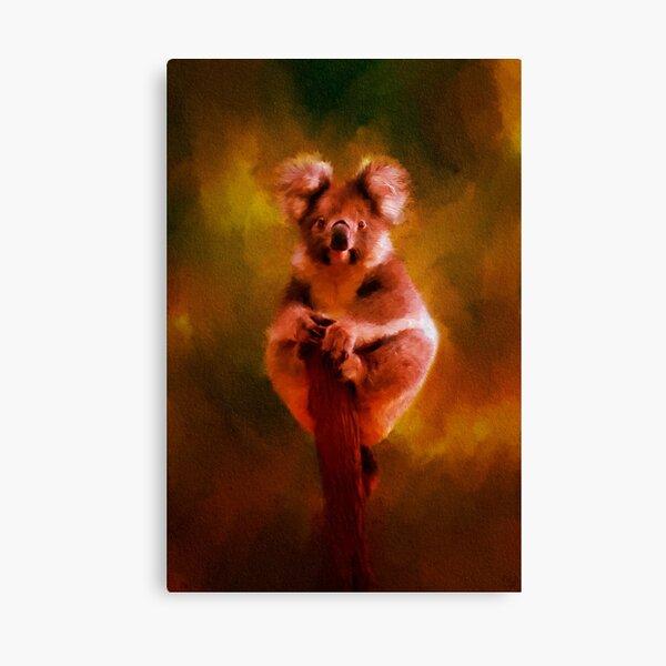 Koala in the Burning Australian Bush Canvas Print