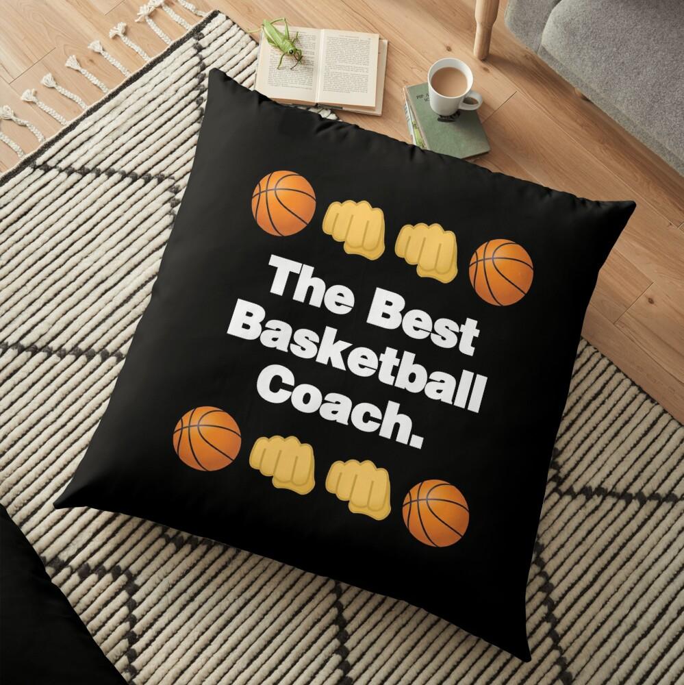 The Best Basketball Coach Emoji Basketball Saying Floor Pillow