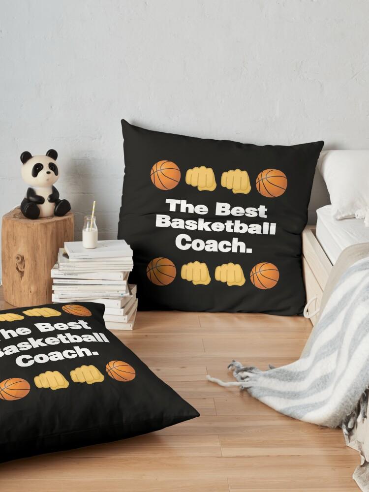 Alternate view of The Best Basketball Coach Emoji Basketball Saying Floor Pillow
