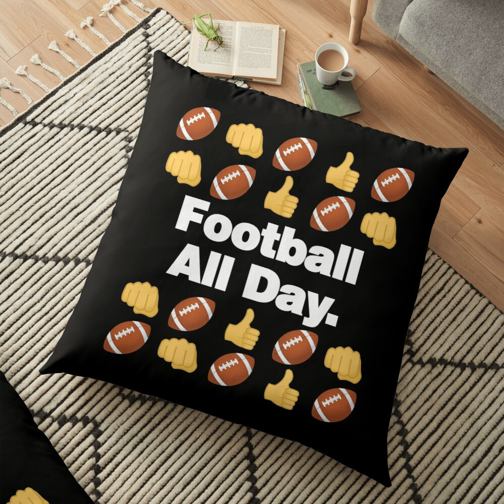 Football All Day Emoji American Football Saying Floor Pillow