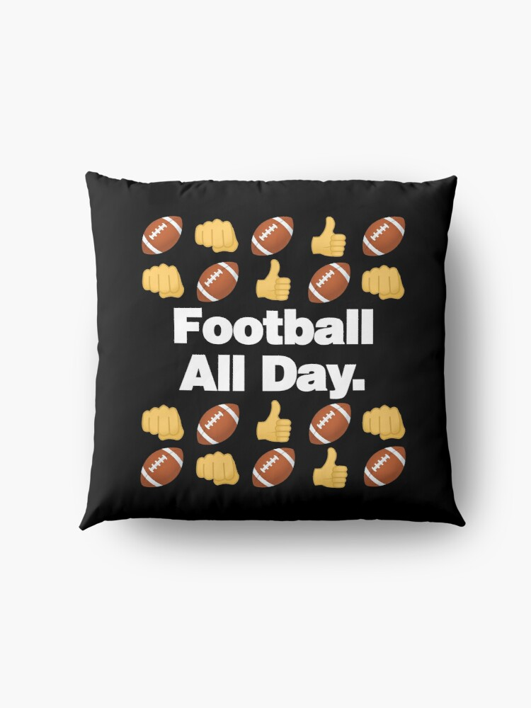 Alternate view of Football All Day Emoji American Football Saying Floor Pillow