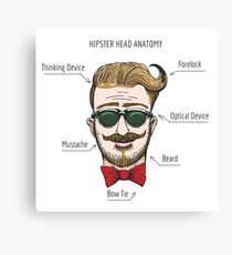 Humorous Hipster head structure. Free font used.  Canvas Print