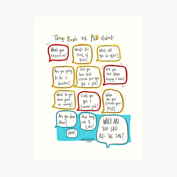 Things people say to PhD students Art Print