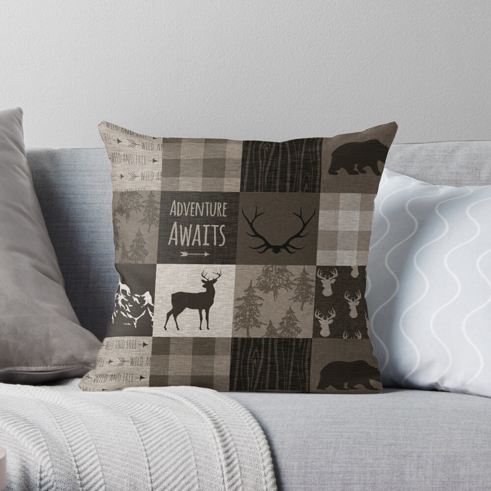 Adventure Patchwork - Brown/Beige Throw Pillow