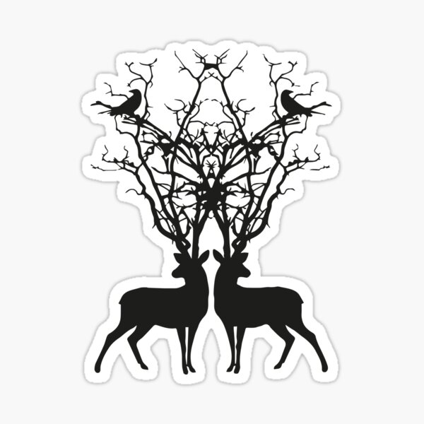 graphic design with two deer and two symmetrical birds Sticker