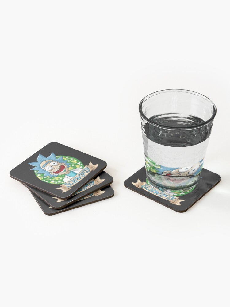 Alternate view of rick and morty get schwifty Coasters (Set of 4)