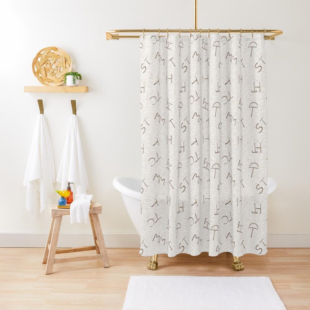 Cattle Brands - Beige Shower Curtain