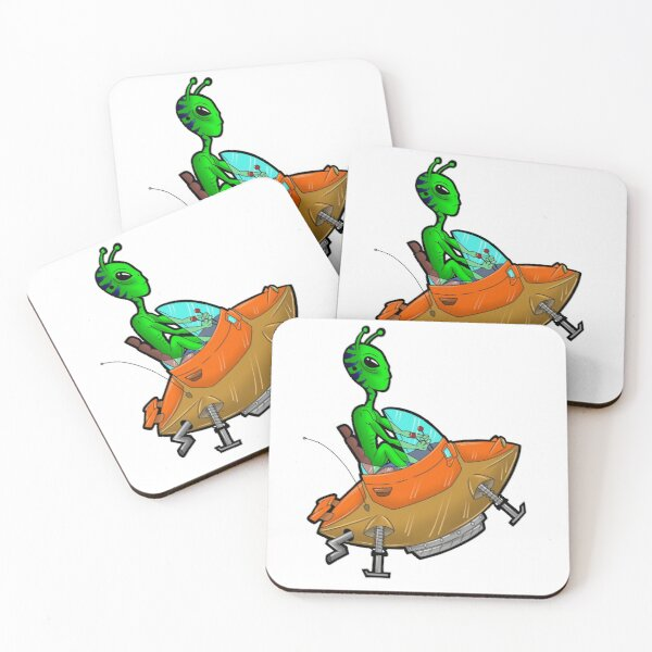Green Alien Driving UFO Car Coasters (Set of 4)