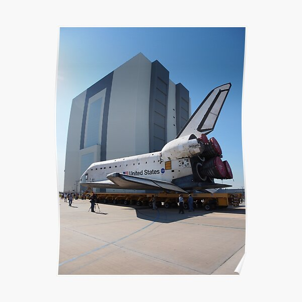 Atlantis arriving at the VAB Poster