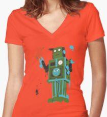 Green Tin Robot Splattery Shirt or iPhone Case Women's Fitted V-Neck T-Shirt