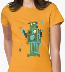Green Tin Robot Splattery Shirt or iPhone Case Womens Fitted T-Shirt