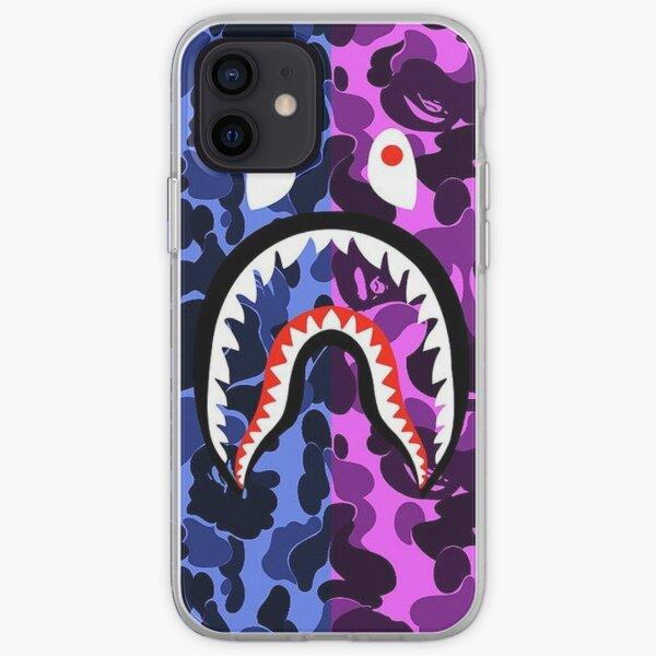 Bathing Ape - Funda para teléfono con diseño de camuflaje azul y púrpura Funda blanda para iPhone