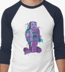 Purple Toy Robot Splattery Shirt or iPhone Case Men's Baseball ¾ T-Shirt