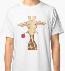 Giraffe holding a rose Classic T-Shirt