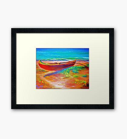 Kailua Beach Canoe  Framed Print
