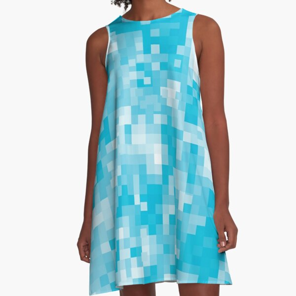 Pixels In Turquoise A-Line Dress