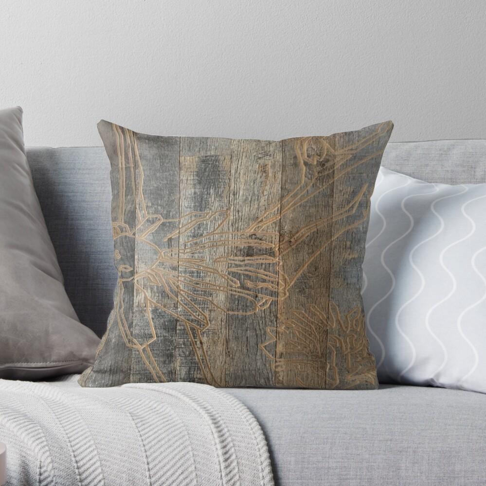 whimsical daisy flower engraved wood barnwood Throw Pillow