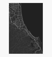 Gold Coast-Tweed Head, Australia Map. (White on black) Photographic Print