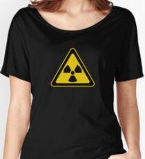 Radioactive Symbol Warning Sign - Radioactivity - Radiation - Yellow & Black - Triangular Women's Relaxed Fit T-Shirt