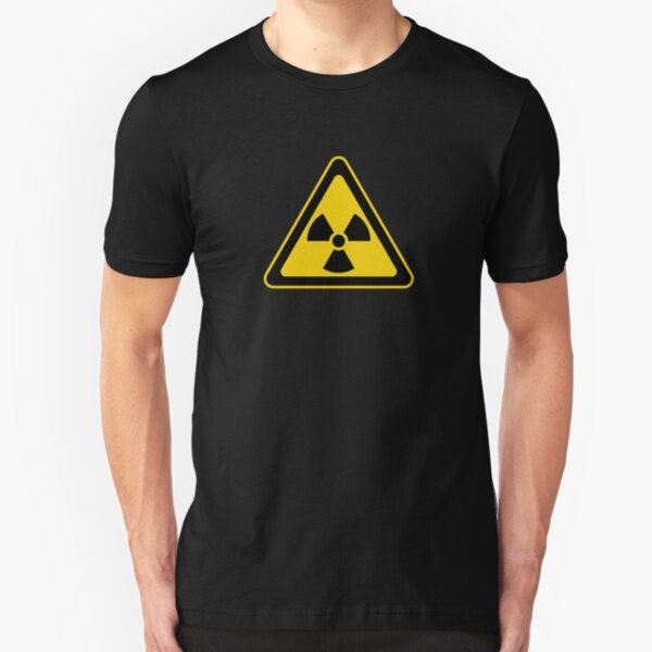 Radioactive Symbol Warning Sign - Radioactivity - Radiation - Yellow & Black - Triangular Slim Fit T-Shirt