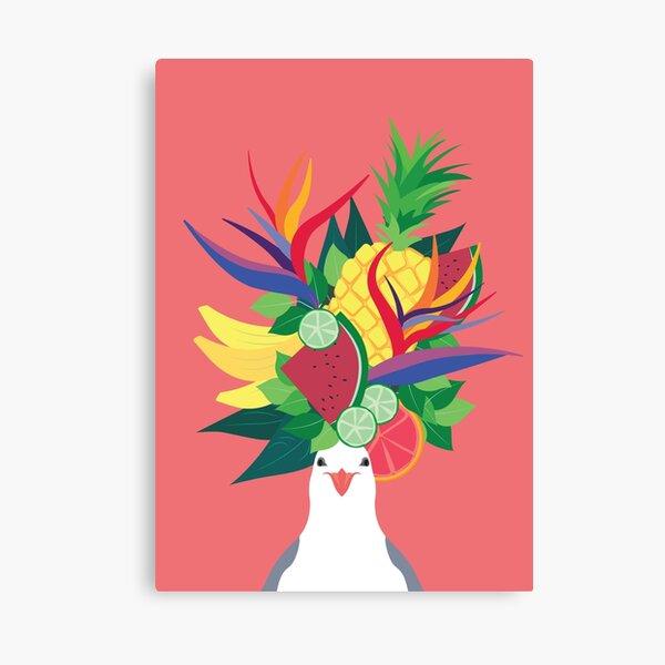 Seagull Fruit Hat Canvas Print
