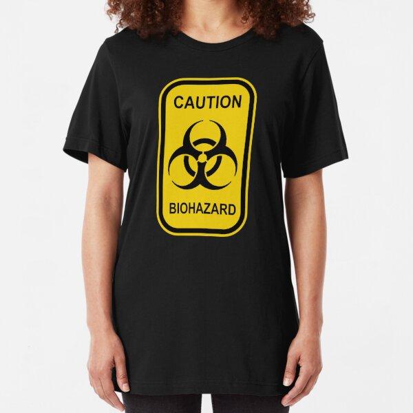 Caution Biohazard Sign - Yellow & Black - Rectangular Slim Fit T-Shirt