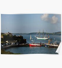 Tall Ship Gloria passes Duncannon Fort, Waterford Harbour, Ireland Poster