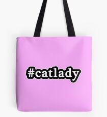 Cat Lady - Hashtag - Black & White Tote Bag