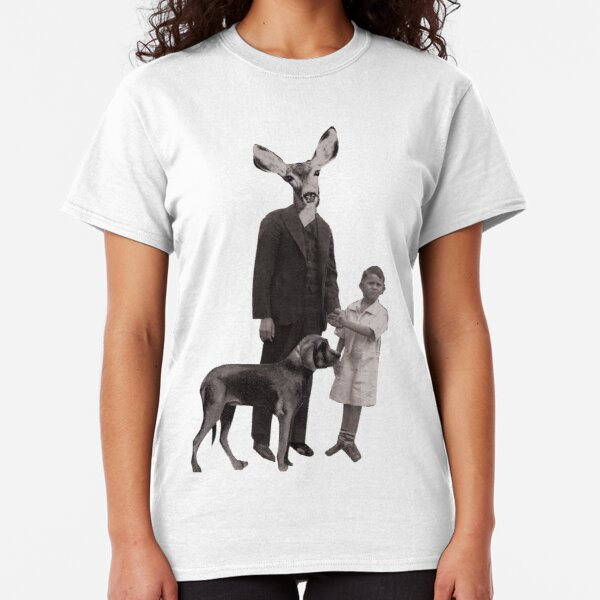 deer man with dog and boy Classic T-Shirt