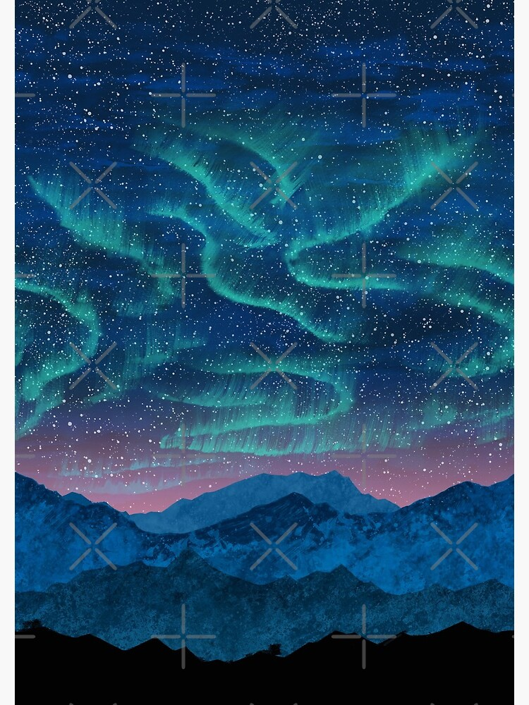 Aurora borealis over mountains by Nozzas