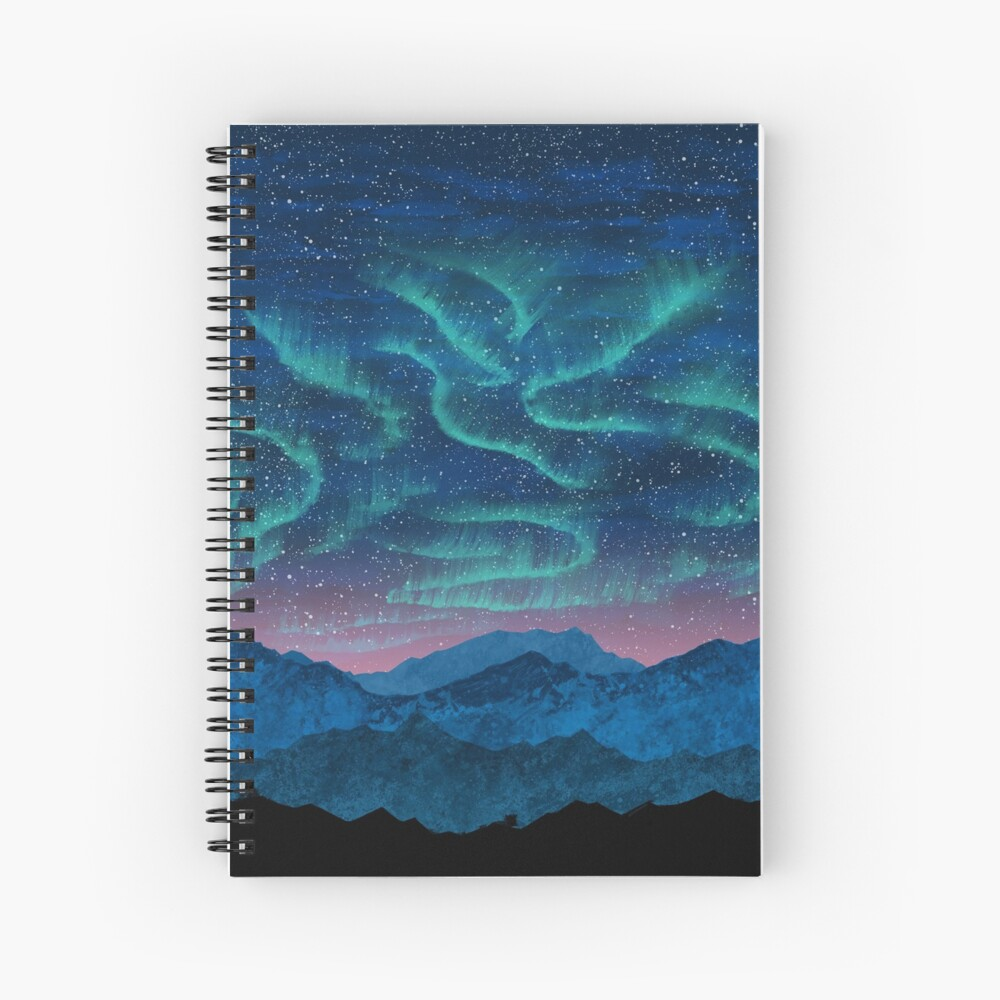 Aurora borealis over mountains Spiral Notebook