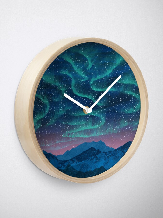 Alternate view of Aurora borealis over mountains Clock