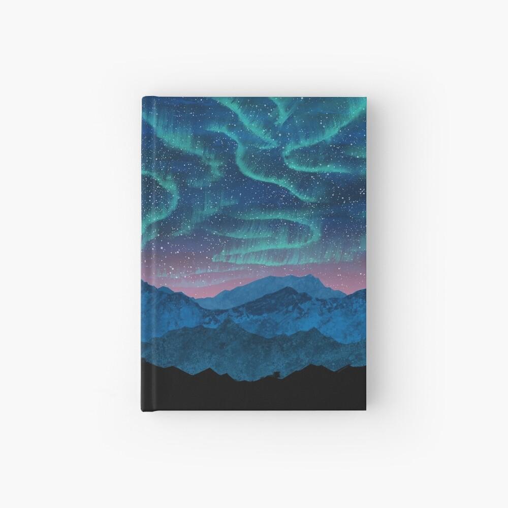 Aurora borealis over mountains Hardcover Journal