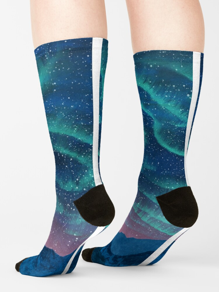 Alternate view of Aurora borealis over mountains Socks