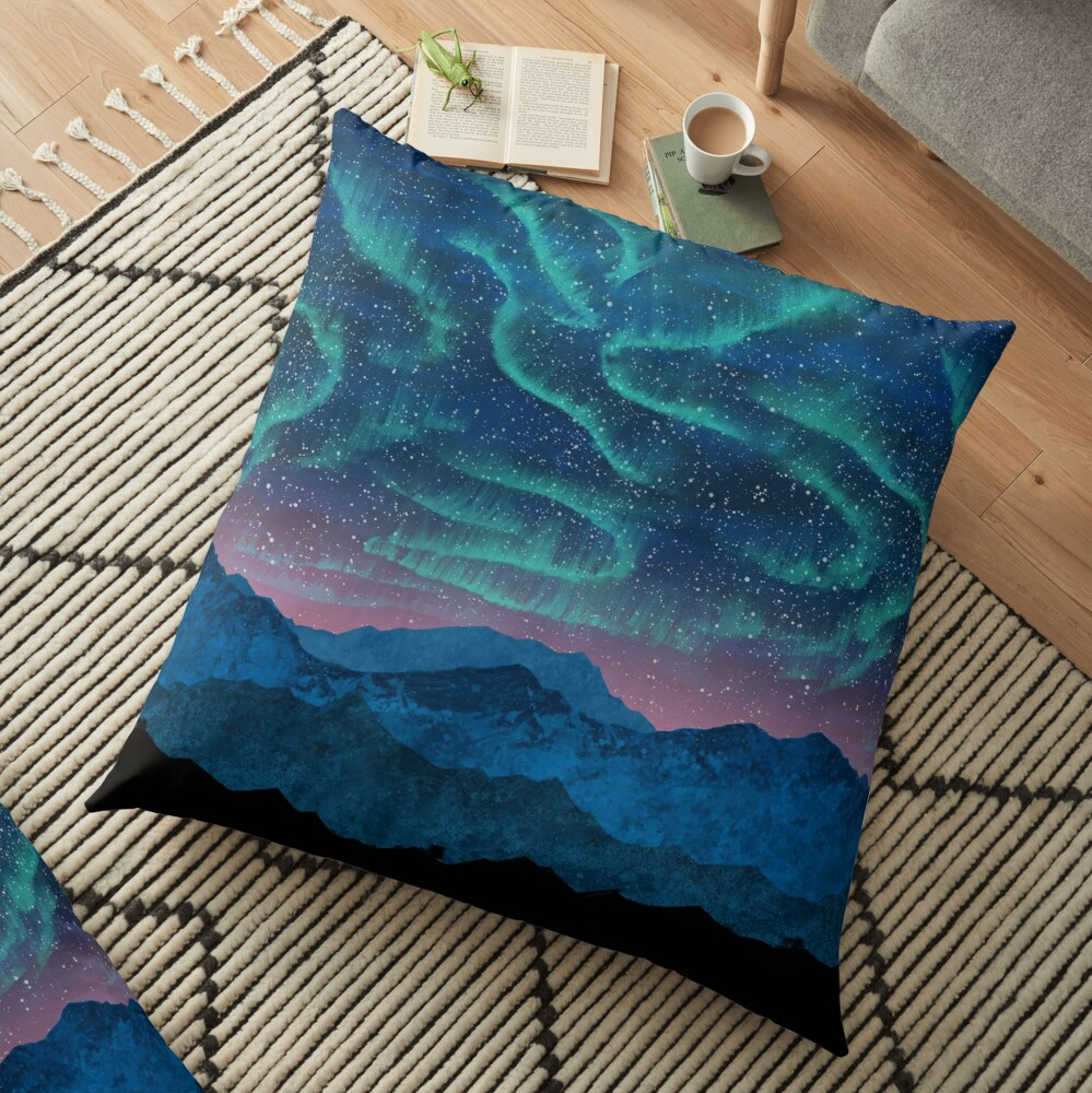 Aurora borealis over mountains Floor Pillow