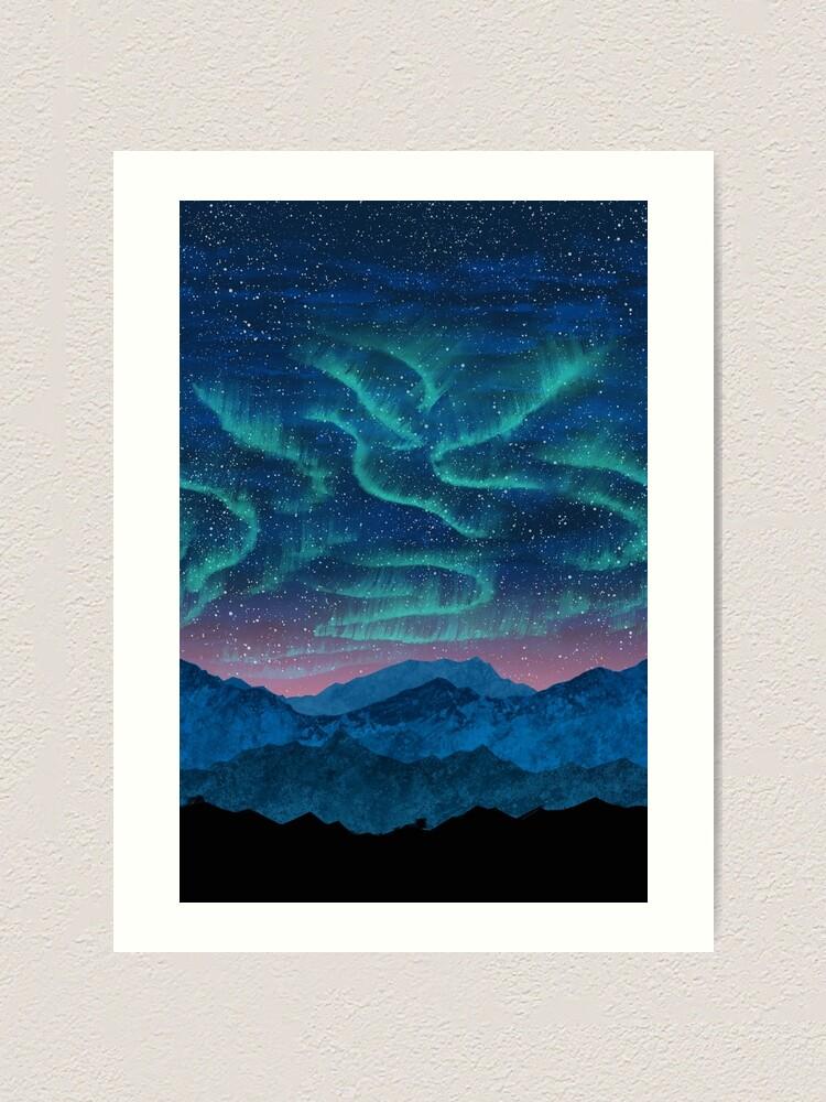 Alternate view of Aurora borealis over mountains Art Print