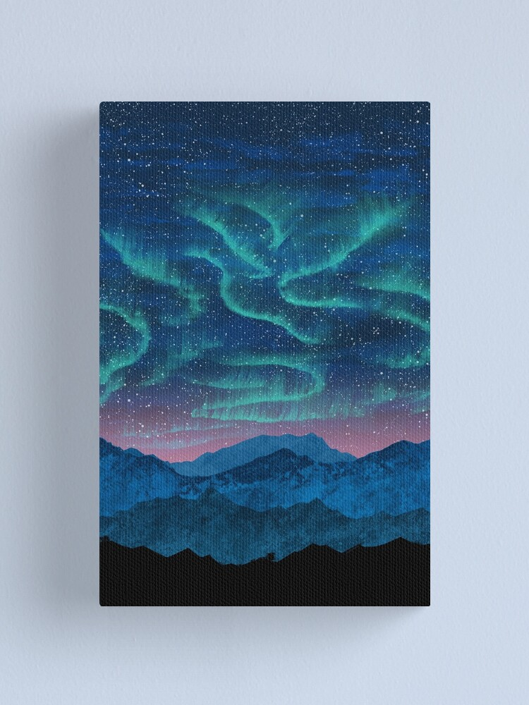 Alternate view of Aurora borealis over mountains Canvas Print