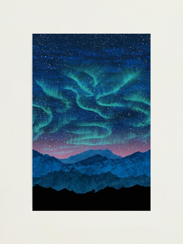 Alternate view of Aurora borealis over mountains Photographic Print